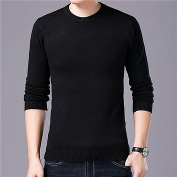 Sweater Men Autumn Winter Warm Mens Knitted Wool Sweaters Solid Color Casual O-Neck Pull Homme Cotton Pullover Men