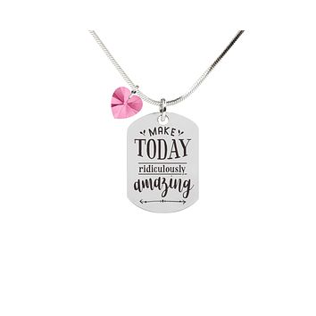 Inspirational Tag Necklace In Pink Made With Crystals From Swarovski By Pink Box