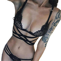 Sexy Women Bandage Intersect Strap crochet Lace 1PC Crop Top+1PC Briefs Set Strappy Lace Floral Hollow Out Cropped Camis#23 BL