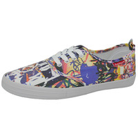 Abstract Print Lace-up Sneakers