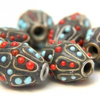 Indian Kasmir Tribal Red and Turquiose with Brass Beads Set of 6 | catfluff - Jewelry Supplies on ArtFire