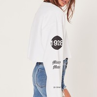 Missguided - Wink Mickey Mouse Cropped Sweatshirt White