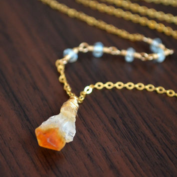 NEW Raw Citrine Necklace, Blue Topaz Gemstone, Golden Honey, Real Birthstone, Wire Wrapped, Gold Jewelry, Free Shipping