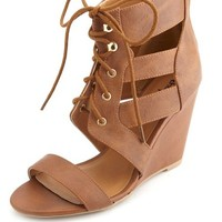 SINGLE SOLE CUT-OUT LACE-UP WEDGES