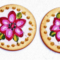 Pink Flower Button Earrings Painted Floral Romantic Jewelry FREE SHIPPING