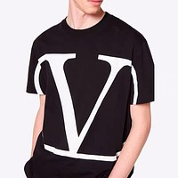Valentino Hot Sale New Couple Casual Printed Lettering T-Shirt