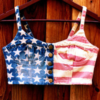 BLOCK PARTY STAR SPANGLE FLAG CROP TOP | Paper Kranes