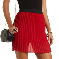 Pleated Chiffon Mini Skirt by Charlotte Russe