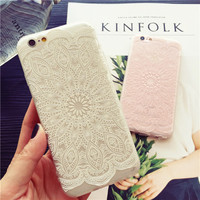 White and pink lace flower mobile phone case for iPhone 6 6s 6plus 6s plus + Nice gift box!