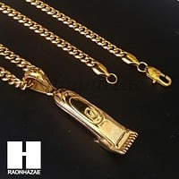 316L Stainless steel Gold Barber Clipper Trimmer Pendant SS017