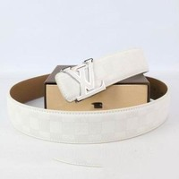 PEAP Perfect Louis Vuitton Woman Men Fashion Smooth Buckle Belt Leather Belt
