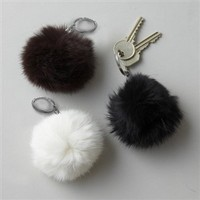 Naturals Fur Key Chain in Assorted Colors - Twos Company | Burke Decor