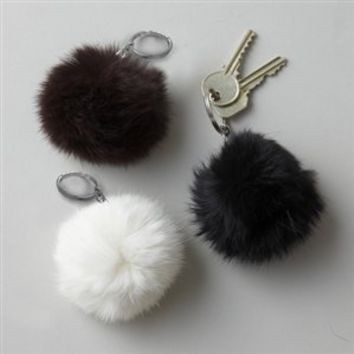 Naturals Fur Key Chain in Assorted Colors - Twos Company   Burke Decor