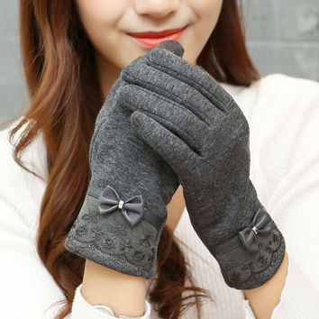 Leather Lace Bow Women Winter Gloves FREE SHIPPING