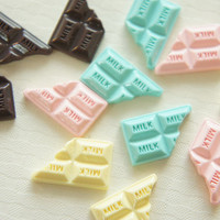 12 pcs Small Chocolate Bar Cabochon 13mm20mm CD307 by misssapporo