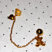 gold teddy bear ear cuff