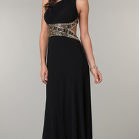 One Shoulder Floor Length Dress with Cut Out Back