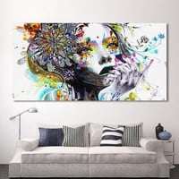 HDARTISAN Modern Canvas Art Girl With FLowers Wall Pictures For Living Room Modular Pictures Home Decor Frameless