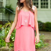 Flutter And Lace Dress, Pink