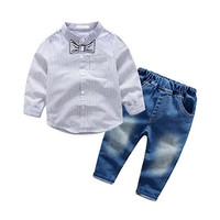 Kids Boy Clothes Set Children Toddler Outfit Clothing - Jeans & Shirt & Straps