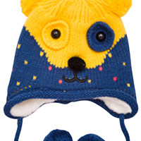 Color-Blocked Bear Double-Pompons Earflap Baby's Knit Beanie