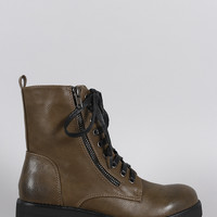 Combat Lace Up Round Toe Lug Sole Ankle Boots