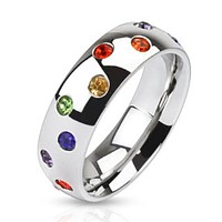 Multi Paved Rainbow CZs Stainless Steel Dome Band Ring