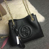 Gucci Stylish Shopping Tassel Pure Color Leather Metal Chain Handbag Tote Shoulder Bag Black