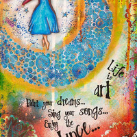 """Colorful mixed media painting, Inspirational Quote """"Life is art.... Enjoy the dance."""", Motivational Image, giclée fine art 12"""" x 16"""""""