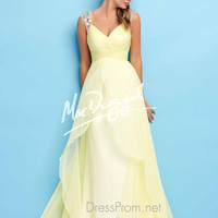 Wide Sequined Straps Formal Prom Gown By Mac Duggal Flash 65122L