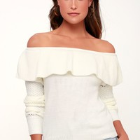 Atwell Ivory Off-the-Shoulder Knit Sweater