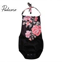 Rose Floral Toddler Infant Baby Girls Romper Summer Style Sleeveless Jumpsuit Clothes