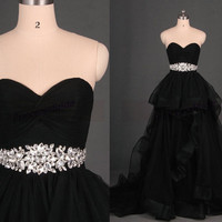 2015 black tulle prom dresses with rhinestones,affordable chic wedding gowns in stock,cheap sweetheart women dress for holiday party.