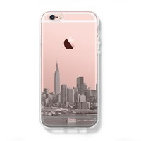 New York City Skyline Hudson River NYC iPhone 6s Clear Case iPhone 6 Cover iPhone 5S 5 5C Hard Transparent Case C015