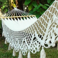 Beautiful Handwoven White Lace Wedding Hammock 100% Cotton