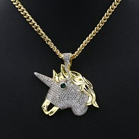 Hiphop Unicorn Brass Pendant W/ 5mm 18-30 inches Cuban Chain