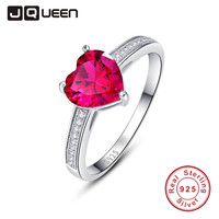 JQUEEN 3ct Heart Red Simulated Ruby Wedding Promise Engagement Ring Solid 925 Sterling Silver Jewelry for lovers
