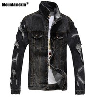Trendy Mountainskin 2018 Fashion Ripped Men's Jean Jackets Hip Pop Denim Jeans Jacket Men Streetwear Solid Male Jean Coats Cowboy SA251 AT_94_13