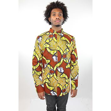 African Print Mens Shirt Button-Up Shirt Orange and Yellow Waves