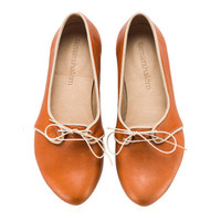 New! Alex, Whiskey brown, Flats, Leather Shoes
