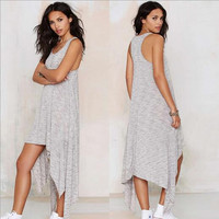 2016 Summer New Maternity Dresses Irregular Vest Dress Gray Casual Cotton Pregnancy Clothes For Pregnant Women Maternity Clothes
