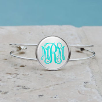 Personalized Silver Monogram Pendant Necklace, Silver Monogram Cuff Bangle Bracelet, Bridesmaid Gifts, Gifts for Her
