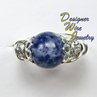 DWJ0165 Pretty Blue Spot Jasper with Shoulder Accents Wire Wrap Ring All Sizes