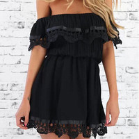 Black Frill Off Shoulder Lace Trimmed Mini Dress