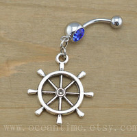 ship wheel Belly Button Rings,ship wheel Navel Jewelry,belly ring,navy blue belly ring,cute wheel,body piercing jewelry