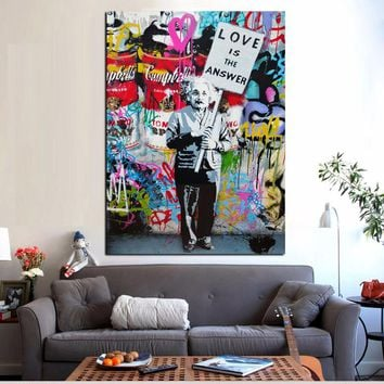 """Large Colorful Graffiti """"Love Is The Answer""""Canvas Poster and Print Painting Einsten Holding a Sign Wall Art Home Cuadros Decor"""