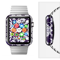 The Blue & White Delicate Pattern Full-Body Skin Set for the Apple Watch