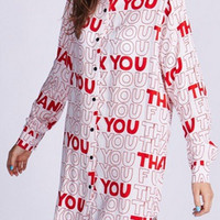 THANK YOU Printed Long Sleeve Blouse