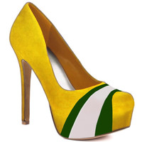 HERSTAR™ Yellow Green White Team Color Suede Pumps