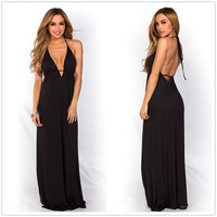 Feelingirl Black Deep V Front Halter Neck Dress Sexy Backless Long Maxi  Floor length Dress (Size: One Size, Color: Black) = 1697113412